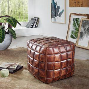 WOHNLING Sitzwürfel STANLEY Echtleder braun 39 x 41 x 39 cm Ottomane Wohnzimmer | Design Pouf Hocker orientalisch | Polster Sitzhocker edel | Orient Beinablage Sofa | Würfel Polsterhocker eckig