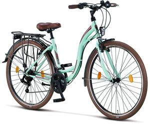 Licorne Bike Stella Premium City Bike in 24, 26 und 28 Zoll - Fahrrad für Mädchen, Jungen, Herren und Damen - Shimano 21 Gang-Schaltung - Hollandfahrrad , Farbe:Mint, Zoll:28