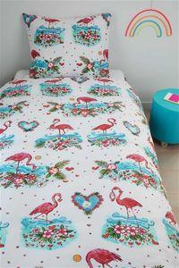 beddinghouse Kids Renforcé Bettwäsche 2 teilig Bettbezug 135 x 200 cm Kopfkissenbezug 80 x 80 cm Flamingo 179556 Korallenrot