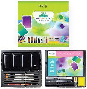 Pagos Aquarell Farben Set 36 Farben Festes Pigment Malkasten Hohe Pigmentierung, All-in-One-Set mit Palette, Pinsel, 12 Blatt Papierblock Geschenkbox für Künstler, Studenten, Erwachsene