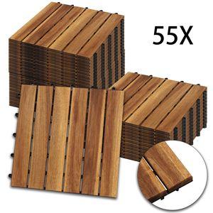 Hengda Holzfliesen 55-er Kachel Set ,5m2, geeignet als Terrassenfliesen und Balkonfliesen, aus Akazien Holz , 30x30 cm, fuer Garten Terrasse Balkon