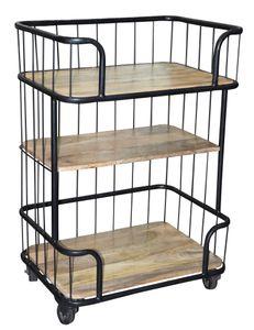 SIT Möbel Servierwagen auf Rollen | 3 Ablagen aus Mangoholz | Gestell Metall schwarz | B 75 x T 38 x H 90 cm | 01053-14 | Serie THIS & THAT