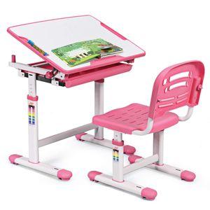 COSTWAY Kinderschreibtisch hoehenverstellbar, Schuelerschreibtisch Kindermoebel neigungsverstellbar, Kindertisch mit Stuhl, Schreibtisch Kinder,Rosa