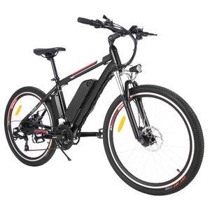 E-Bike, Pedelec, Elektro-Mountainbike, E-Trekkingrad, Elektrofahrrad, City E-Bike, LED Fahrradlicht, Horn, 250W Motor,22-28km / h , 36V 8AH Abnehmbarer Lithium Akku, Bremsstromausfallschutz, 26 Zoll ,22+ Meilen, schwarz,für Herren/Damen/Unisex