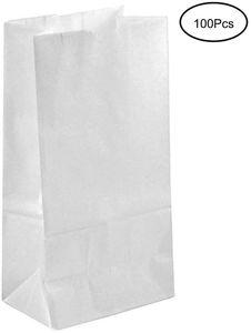 100 Papiertüten Weiß Geschenktüten Tütchen 27 x 15 x 9 cm klein Kraftpapier tüten Kraftpapiertüten Adventskalender Süßigkeiten Geschenk Papier Mini keks Papierbeutel Kindergeburtstag