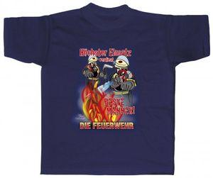 T-Shirt mit Print - Höchster Einsatz verdient...Feuerwehr - 09829 dunkelblau - Gr. S-XXL Größe - XL