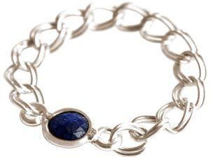 Damen Ring 925 Silber Saphir Blau Beweglich Geschmeidig
