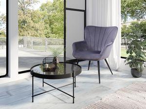 HOMEXPERTS Sessel LEXI, mit Ziernaht im Rücken, in Samt dunkelgrau, Metallbeine schwarz
