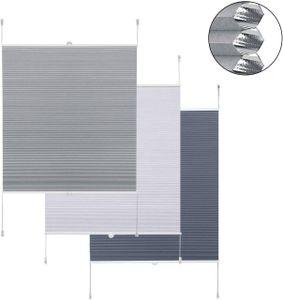 WOLTU Wabenplissee ohne Bohren Verdunklung Thermo Doppelplissee, Plissee Faltrollo Klemmfix Zweifarbig 80x130cm Grau-Weiß WPS0005gr