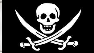 Fahne Piratenflagge 90 cm x 150 cm - Schädel mit Säbeln - 90 cm × 150 cm