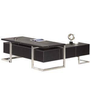 Chef Schreibtisch Venedig links Winkelschreibtisch Büromöbel Büro Tisch schwarz Lederoptik
