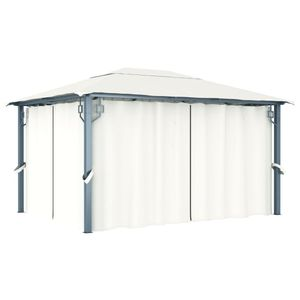 vidaXL Pavillon mit Vorhängen 400 x 300 cm Creme Aluminium