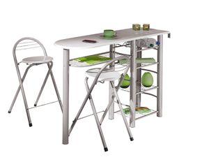 Küchentheke Küchenbar Küchentisch Küchentresen Tresen Küche Stühle Bistrotisch Frida weiß inkl. 2 Hocker