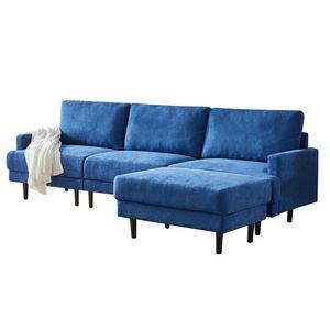 Azkoeesy Ecksofa L-Form 3-Siter Stoffsofa mit Ottomane 266cm , Massivholzrahmen , Polyester Stoffbezug ,(Blau)