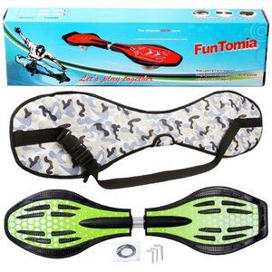 FunTomia® mit LED-Rollen - 2275- Design grün Punkte - Waveboard ORIGINAL