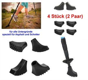 GKA 4 Stück (2 Paar) Nordic Walking Asphaltpads für Schotter und Asphalt Ersatzfüße für Nordic Walking Stöcke Gummipuffer Trekking