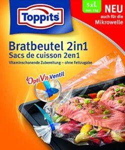 1 x Toppits - Bratbeutel 2in1 - Größe L - Inhalt: 5 Stück - 350 x 430 mm