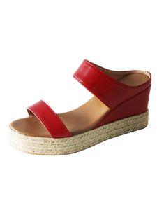 Abtel Damen Open Toe Wedges Mode Hausschuhe High Heels Sommer,Farbe:Rot,Größe:35