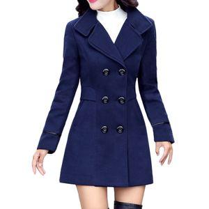 Frauen Wolle Zweireiher Mantel Elegante Langarm Arbeit Büro Mode Jacke Größe:XXL,Farbe:Blau