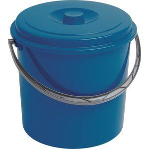 Curver blauer Eimer 12 L Abfalleimer Papierkorb Mülleimer mit Griff und Deckel Küche