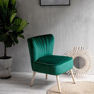 Laxllent Stuhl Samt Dunkelgrün Sessel Polsterstuhl 57x68x76CM,mit Holzfüß Weich Gepolstert Stuhl für Esszimmer Wohnzimmer Salon
