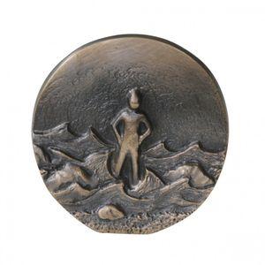 Wandrelief Ein Fels in der Brandung, Impulse 8 cm Bronze