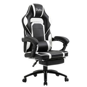 Sigtua, Ergonomischer Gaming-Stuhl Computerstuhl Höhenverstellbarer Armlehnen PC Stuhl Schreibtischstuhl mit hohe Rückenlehne Kopfstütze und Lordosenstütze, Weiß