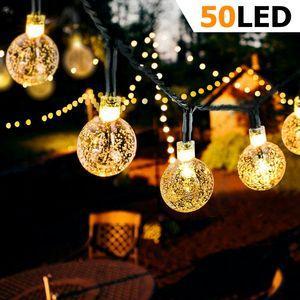 LED Lichterkette Außen Solar Lichterkette mit 50er LED Kristallkugeln 8 Meter USB Lichterkette Innen für Garten, Bäume, Schlafzimmer, Kinderzimmer, Hochzeiten, Partys usw. [Energieklasse A+++]
