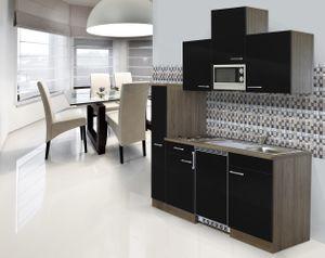 respekta Küche Singleküche Küchenzeile Küchenblock 180 cm Eiche York schwarz