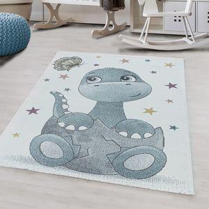 Kurzflor Teppich Rosa Dino Baby Design für Kinderzimmer Dinosaurier , Farbe:Blau, Grösse:160 cm Rund