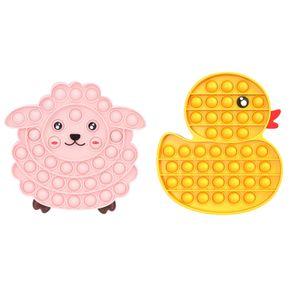 Pop it Bubble Fidget Sensory Toy(Gelbe Ente + rosa Schaf), Autismus ADHS SEN Fidget Stressabbau Spielzeug