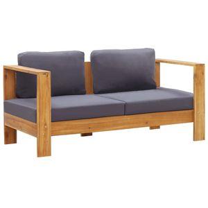 vidaXL Gartenbank mit Auflagen 140 cm Massivholz Akazie Grau