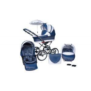PolBaby Skyline Multifunktionaler Kinderwagen Classica Lux Retro 3in1 Räder 14' Blue