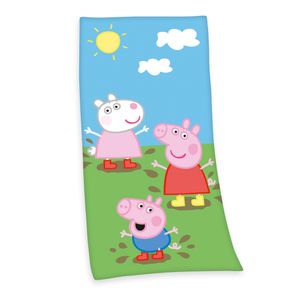 Peppa Pig Badetuch / Strandtuch / Handtuch, 100% Baumwolle ( Velours ), 75x150 cm