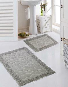 Badezimmerteppich Set 2-teilig Steinoptik rutschfest waschbar - sandgrau Größe - 50x60cm + 60x100 cm