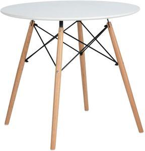 H.J WeDoo Esstisch Weiß Rund Küchentisch Modern,Weiß Skandinavisch Esszimmertisch, Beine Natur,80x80x75cm