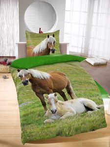 Bettwäsche mit Pferd Digitaldruck 135 x 200 cm 80 x 80 cm
