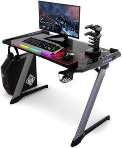 COSTWAY Gaming Tisch ergonomisch, Computertisch, Computer-Tisch mit RGB-Beleuchtung, Becher- und Kopfhoererhalterung, USB-Controller-Halterung und Mauspad, Schwarz