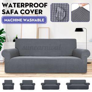 3 Sitzer Sofahusse stretch Sofabezug elastische Abdeckung Uni. Wasserdicht -Grau