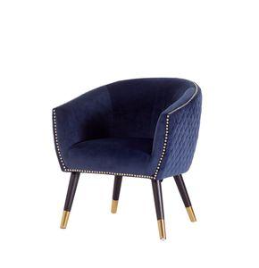 Velours Sessel Niles blau Relaxsessel Polstersessel Clubsessel Vintage Lounge