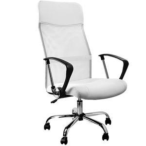 Casaria Bürostuhl Chefsessel »Deluxe« Wippfunktion höhenverstellbar ergonomisch 360° drehbar mit Netzbezug Stoff Drehstuhl Schreibtischstuhl , Farbe:weiß