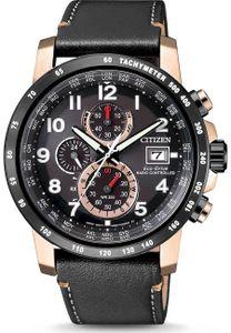 Citizen AT8126-02E Funkuhren Uhr Lederarmband Chrono Datum schwarz