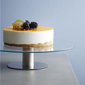 Tortenständer Glas/Edelstahl drehbar Ø30x7cm