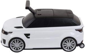 Rutschauto und Koffer 2 in 1 Land Rover Trolley Roll-Koffer Kinderfahrzeug Koffer für Kinder Weiß