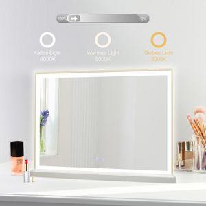 Hollywood Schminkspiegel mit Beleuchtung Dimmbar LED einstellbare Helligkeit großer Kosmetikspiegel Make-up-Spiegel Wandspiegel Badspiegel, 60 x 80cm, 3000-8000K