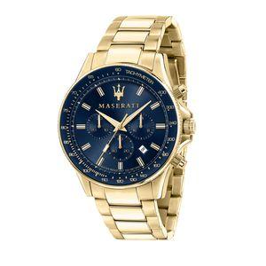 Maserati R8873640008 Herrenuhr Chronograph Sfida Goldfarben/Blau