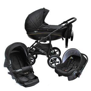 LUXUS Kombi Kinderwagen  3 in 1 Komplettset - schwarz