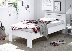 """Bett """"SATURN"""" Einzelbett Bettgestell mit Komforthöhe weiß 90 x 200 cm"""