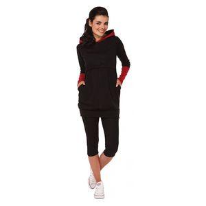Still-Stillshirt für Damen mit langen Ärmeln Sweatshirt Top-Kleidung Schwarz S