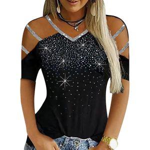 Frauen Pailletten Cold Shoulder Top Kurzarm T-Shirts Lässig Sexy Blusen, Schwarz, 2XL